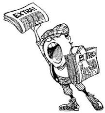 Image of cartoon newspaper boy holding up newspapers