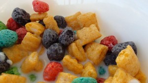 Cap'n Crunch Berries cereal in milk.