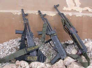 Three AK-47s left by jihad terrorists in Israel.