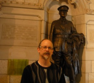 Roger Lohmann in 2014 at the memorial of World War I casualty George Harold Baker in the Parliament of Canada during a Green Party of Canada tour. (Photo by Jaymini Bhikha)