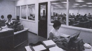 Staff using Friden Computypers in 1967 at the North York office of the University of Toronto Press. Image originally appeared in Publishers Weekly, February 6, 1967.