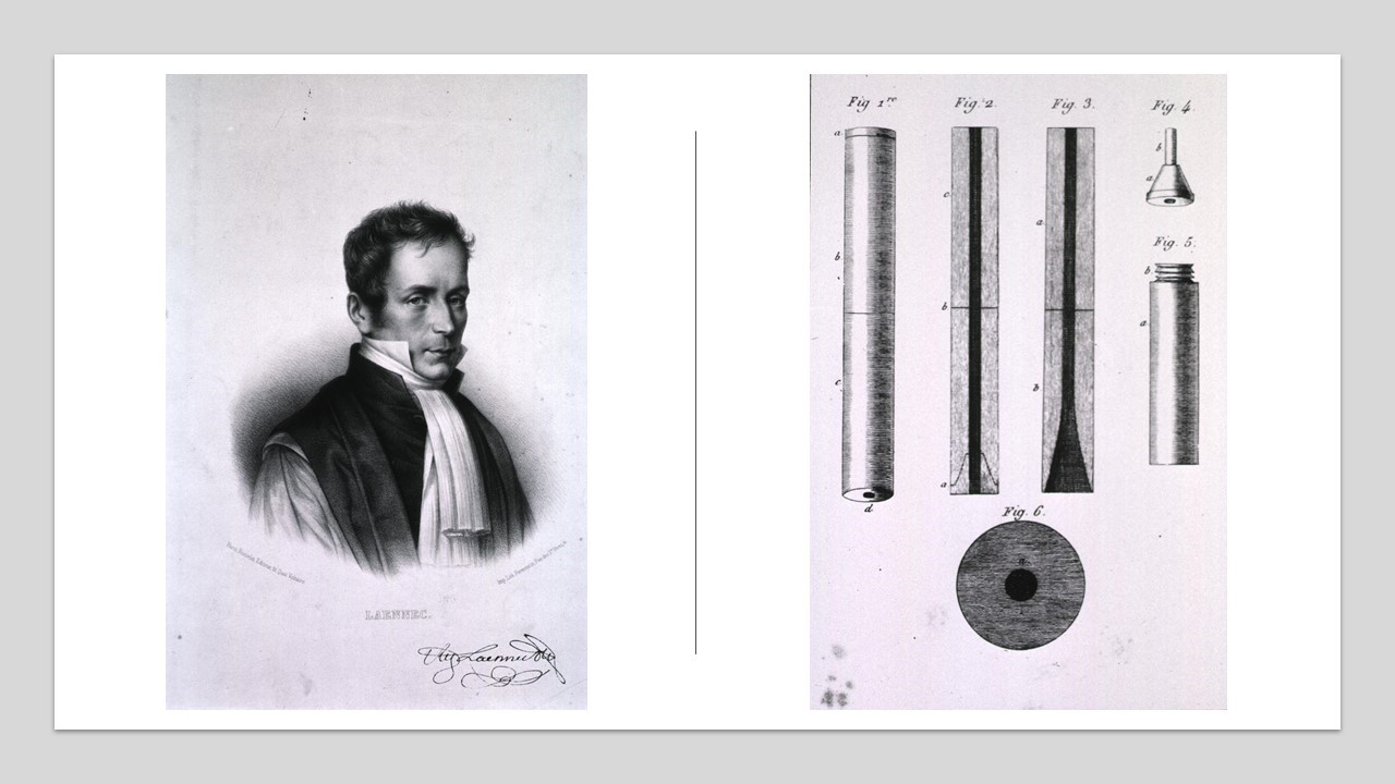 Photo of Laennec; and photo of Laennec's sthethoscope.